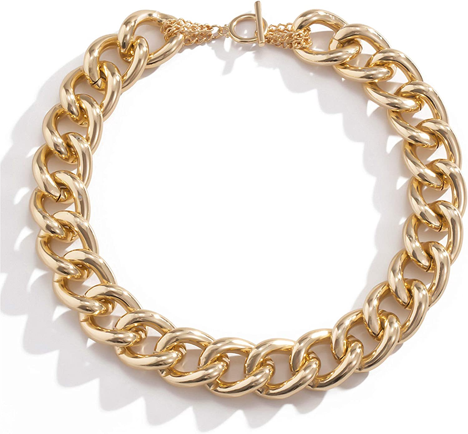 Chunky Chain Choker Industrial Style Gold or Silver Big Curb Chain Link Necklace Goth Punk Stacking Necklace Rock Statement Choker