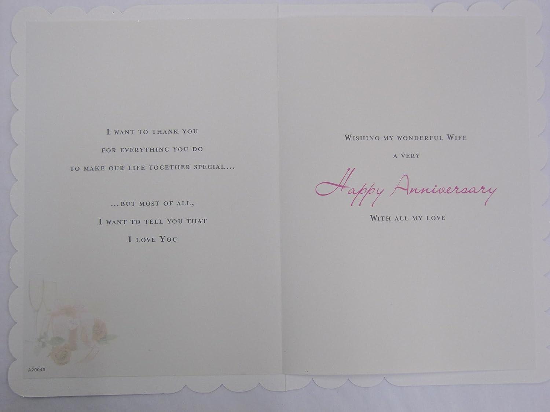 STUNNING TOP RANGE WONDERFULLY WORDED 5 VERSE BEAUTIFUL WIFE ANNIVERSARY CARD