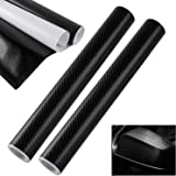 2 Rollos Vinilo Coche Fibra de Carbono 4D, Engrosadas Pegatinas para Coche Autoadhesivo DIY Decoración para Automóvil, Moto, PC, Negro (152 * 30 cm)