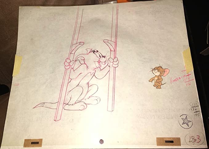 2 Tom and Jerry original pencil production cel drawings Hanna Barbera