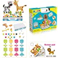 Haifeng 257 Pieces Mosaic Design Puzzle Toy, Screwdriver and Drill Tool Creative Set, Dinosaur Card and Animal Card Assembly