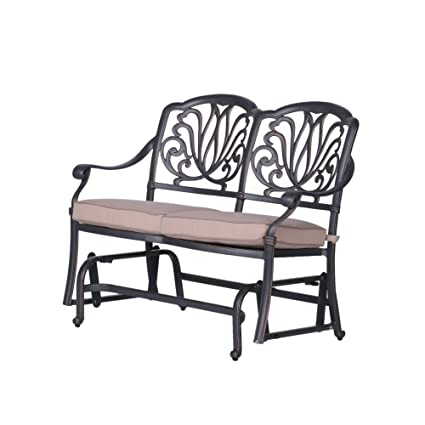 Groovy Amazon Com Ipatio Athens Bench Glider With Cushion Caraccident5 Cool Chair Designs And Ideas Caraccident5Info