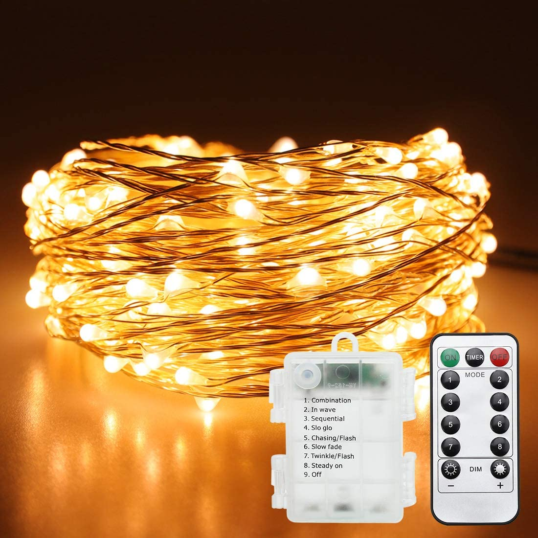 Led Battery Fairy Lights,16.4 Feet Remote Fairy Lights,50 LEDs Waterproof Flexible String Lights Battery Operated for Bedroom Home Wedding Christmas Festivals Warm White