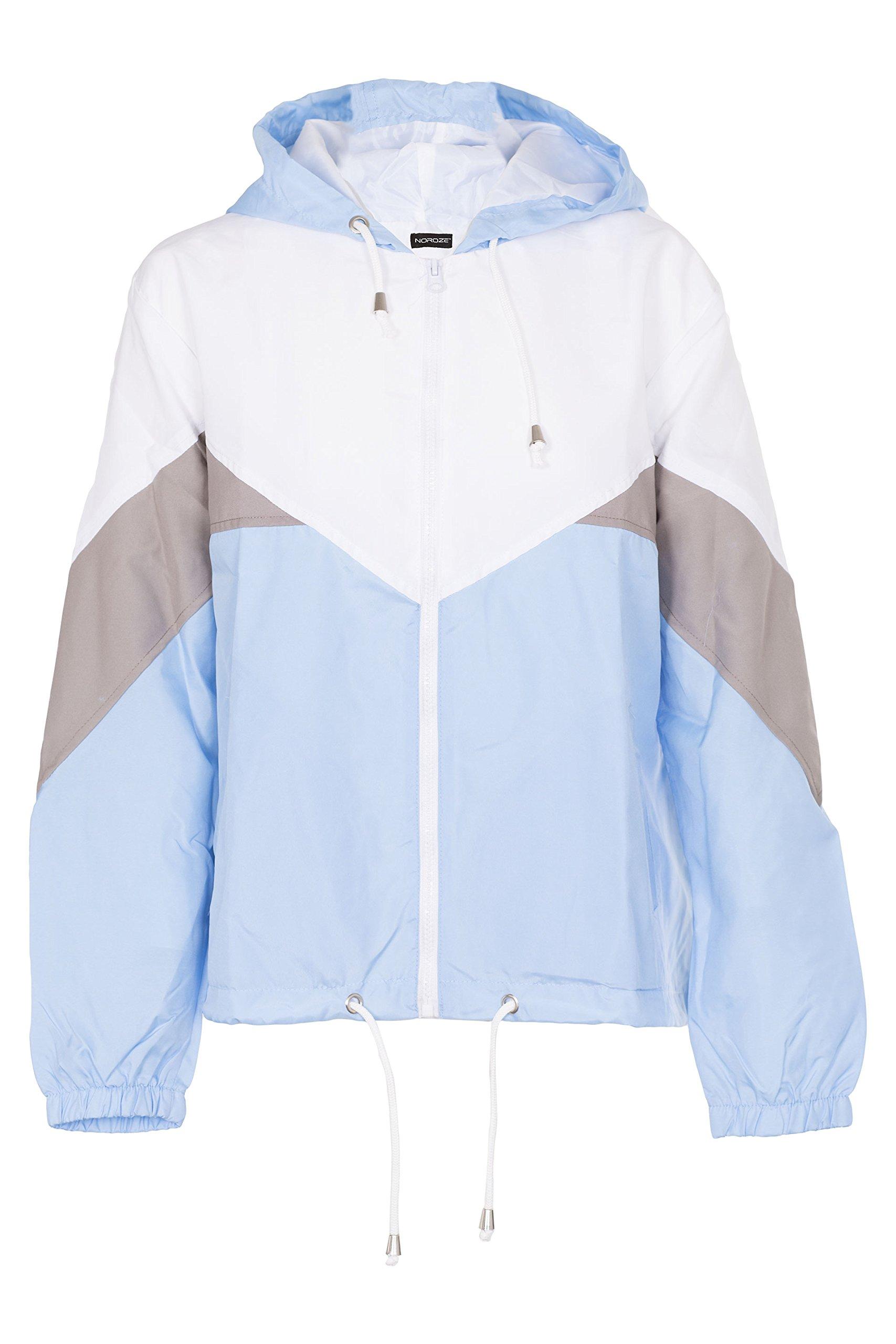 Noroze Women Hooded Panel Wind Breaker Jacket Summer Top (S, Blue)