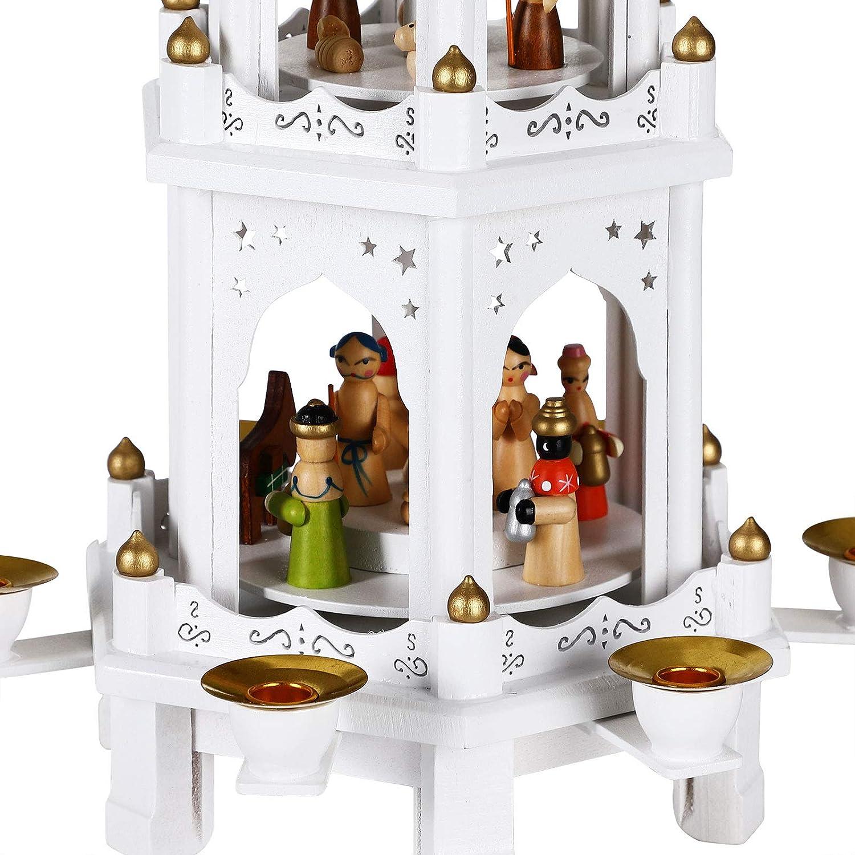 Spielwerk Pir/ámide XL de Madera con h/élices y Figuras Decorativas rotativas Adorno decoraci/ón Interior Exterior Navidad