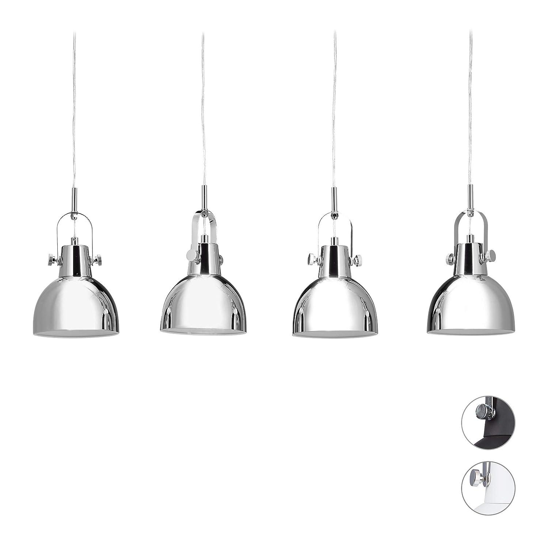 Relaxdays Lampadario vintage lampada con 4 paralumi di metallo altezza regolabile fino a 150 cm inclinabili argento