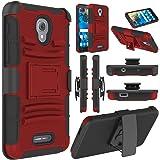 Alcatel Fierce 4/ Allura Case/ Pop 4 Plus Case, Elegant Choise Hybrd Armor Holster Kickstand Full Body Protective Case Cover with Belt Clip for Alcatel Fierce 4 / Allura/ Pop 4 (Red/Black)