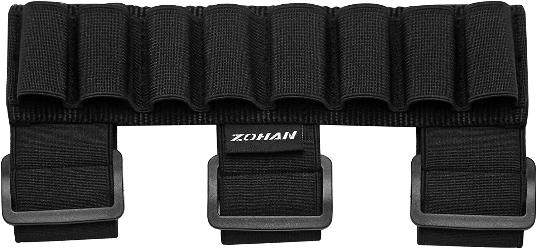 ZOHAN Shotgun Shell Holder 8 Rounds Rifle Buttstock Ammo Holder Adjustable Shooters Forearm or Tactical Buttstock Sleeve Shell Holder