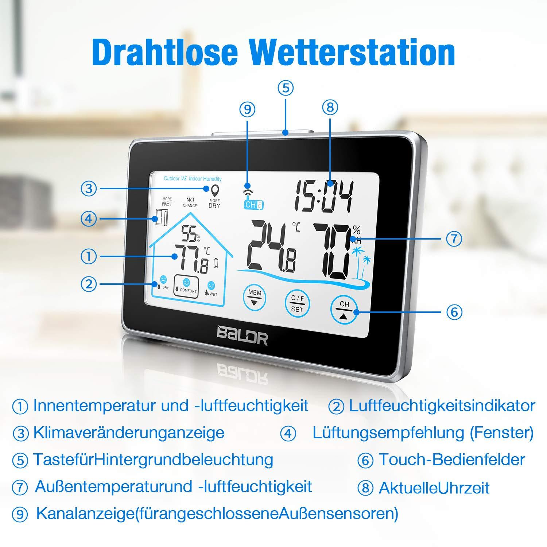 Beautlife Wetterstation Funk mit Außensensor Hygrometer Digital Thermometer Tischuhr Wecker Großes Farbdisplay mit Hintergrundbeleuchtung für Zuhause Büro Schlafzimmer (Schwarz)