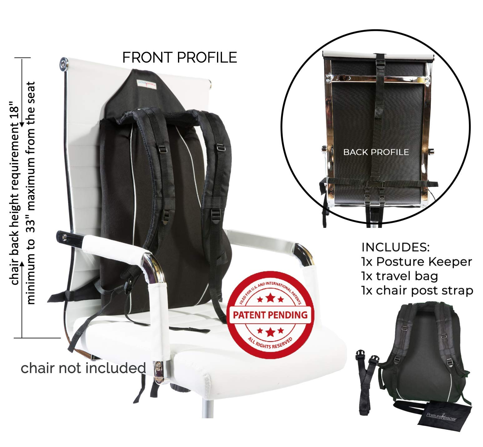 Posture Keeper - 3 in 1 Posture Corrector Device, Trainer, Lumbar Back Support System for Men & Women, Improve Your Sitting Posture, Relieve Back, Shoulders & Forward Neck Pain - New Invention