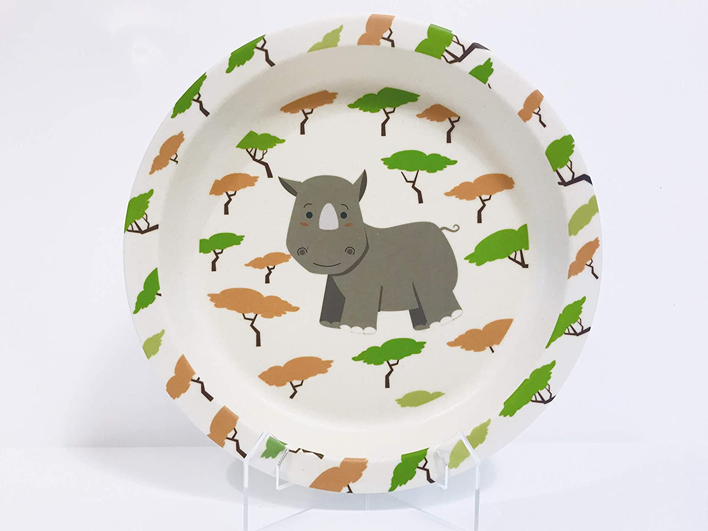 Ruandi the Rhino Bamboo dinner set