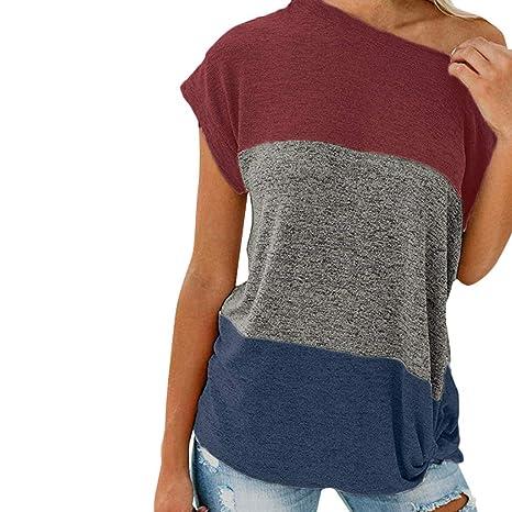 Damen Kurzarm Hollow Rundhals Shirt Bluse T-Shirt Tops Schulterfrei Freizeit FL