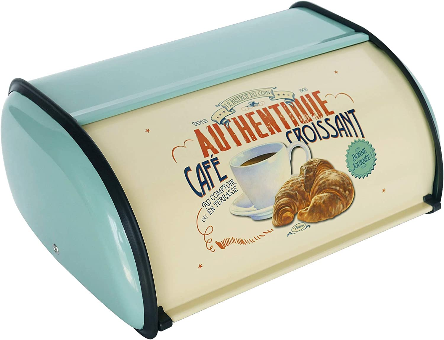 NIKKY HOME Bread Box Teal Vintage Farmhouse Bread Container with Roll Top Lid Rustic Stainless Steel Metal Bread Keeper Storage Bin for Kitchen Counter Food Cookies Holder Mother's Day Gift, Teal