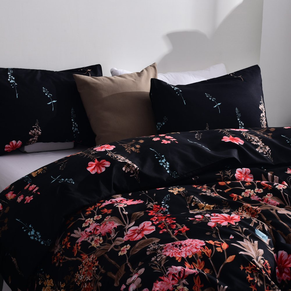 Kids Flower Duvet Cover Set, Girls Floral Leaf Black Bedding Set with Soft Lightweight