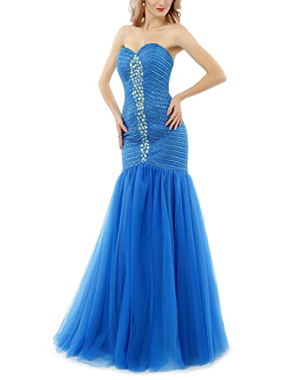 Baijinbai Womens Long Beaded Tulle Chiffon Crystal Mermaid Bridesmaid Prom Dress Evning Gowns Blue UK06