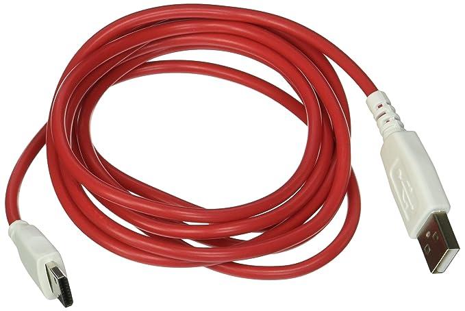 smavco (TM) 6,5 pies (2 metros) rojo cable de datos cargador ...