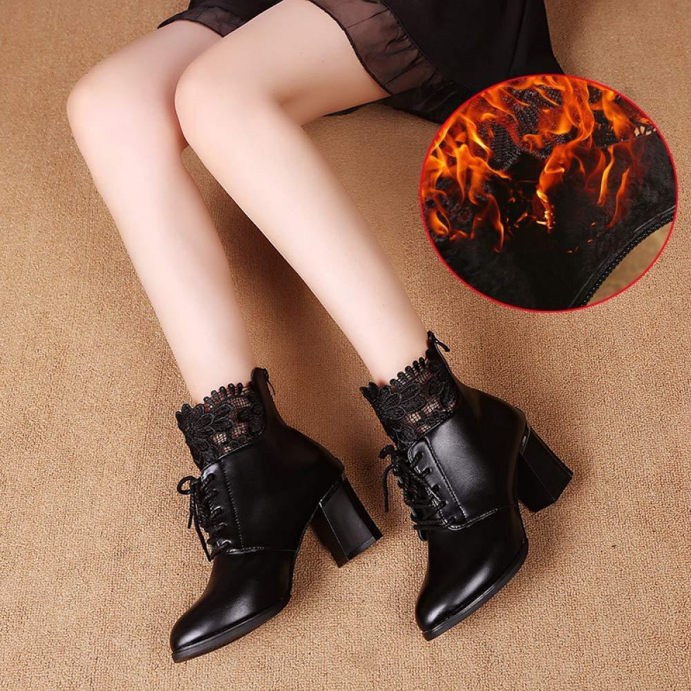 Fuxitoggo Herbst Damenschuhe Matte Matte Matte Leder Stiefelies dick mit Overknee-Stretch-Stiefel, Damen hochhackige Stiefel, schwarz (Farbe   Schwarz, Größe   37) a5ac48