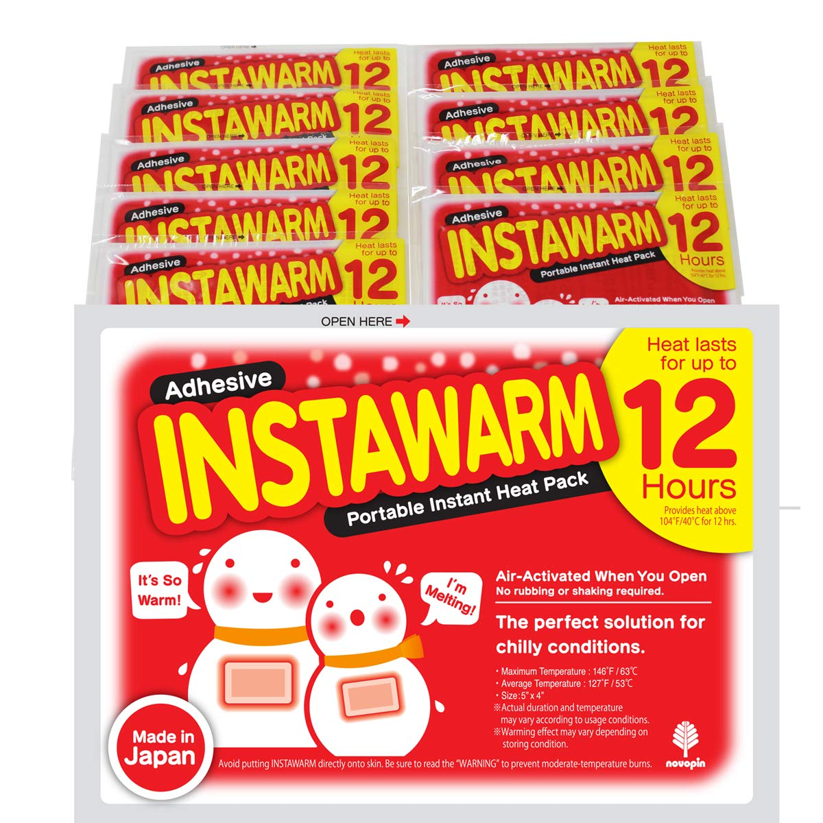 Kokubo Adhesive Hand Body Warmers Instawarm Portable Instant Heat Pack 12 Hours Value Pack Made in Japan (10pcs x 1pk (10ct)) by Kokubo