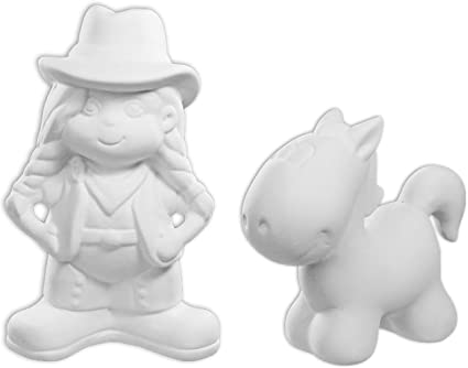 Paint Your Own Ceramic Keepsake Carla The Cowgirl and Fannie The Foal