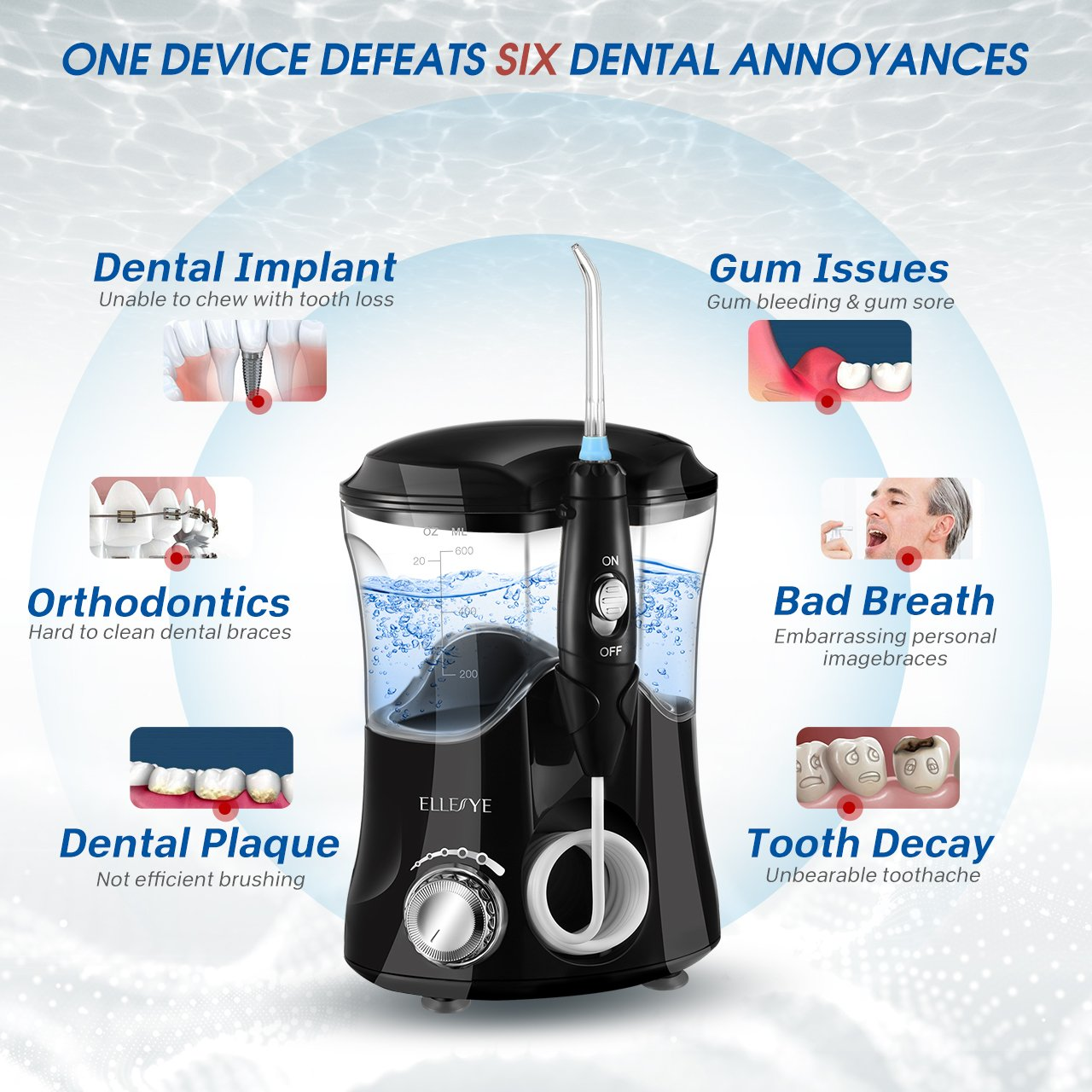 Water Flosser, ELLESYE Oral Irrigator 600ml with 9 Multifunctional Jet Tips, 3 Min Timer, Dental Water Flosser for Braces Care & Teeth Cleaning, Quiet Design for Adults & Kid Use by ELLESYE (Image #3)
