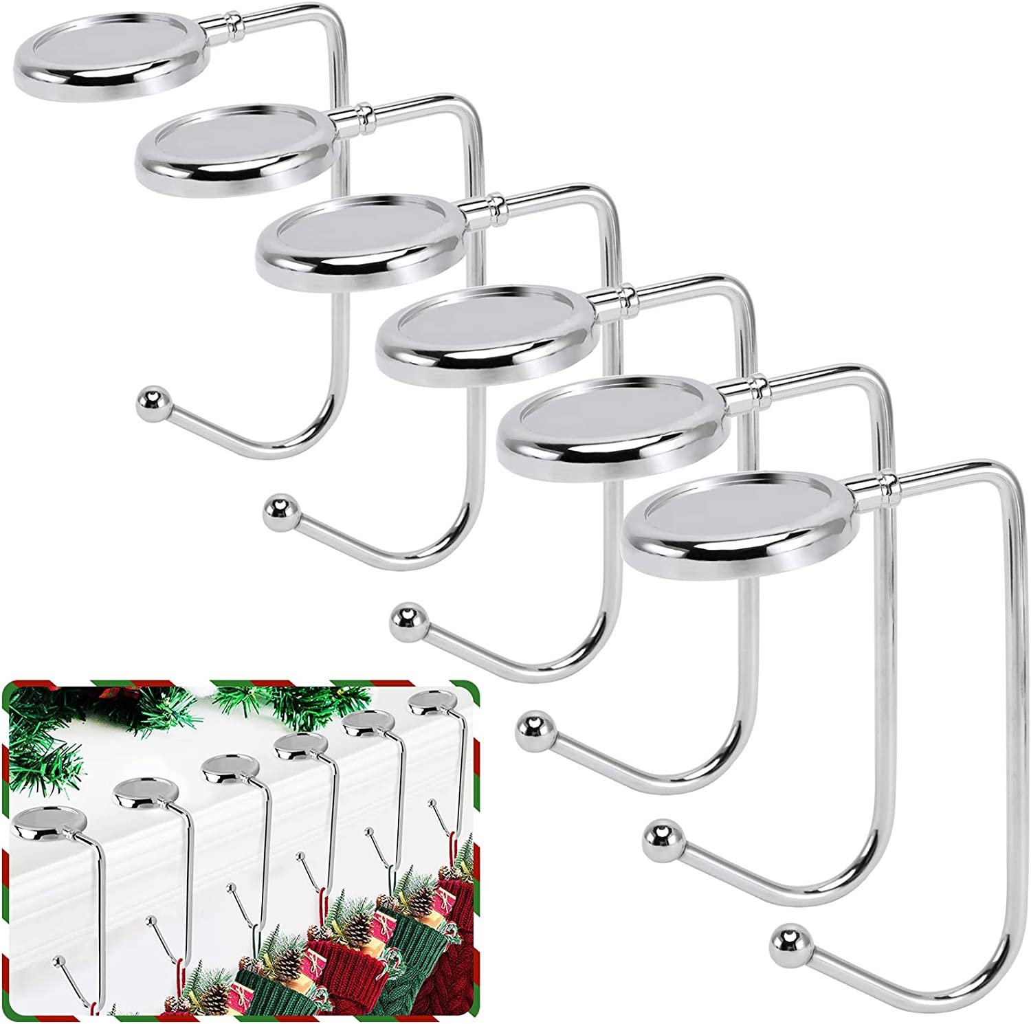 365park Christmas Stocking Holders for Mantle, 6 Pack Mantel Stocking Hangers Metal Hooks for Fireplace Christmas Xmas Party Decoration (Silver)