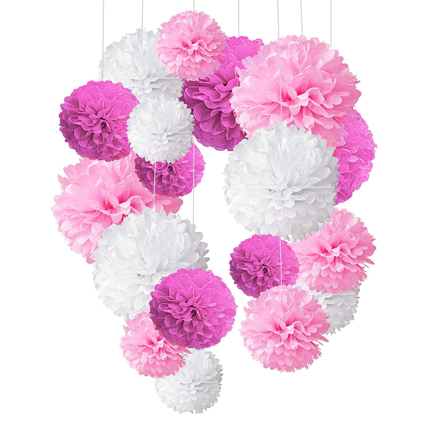 Alintor 18 Pcs Tissue Paper Pom poms, Pom Poms Flower White Pink Rose Red, Wedding, Baby Shower, Outdoor, Indoor, Birthday Party Hanging Decoration