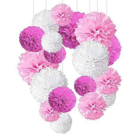 Alintor 18 Piezas Papel Pompones Decoraciones Pom Poms Flores