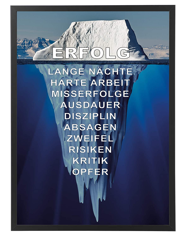 PICSonPAPER Motivations-Poster Motivations-Poster Motivations-Poster 50 cm x 70 cm, Eisberg des Erfolgs mit schwarzem Bilderrahmen, Poster mit Rahmen (50 cm x 70 cm) 7673af