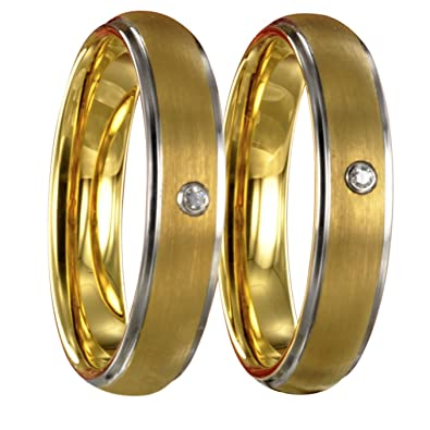 Zwei Wolfram bicolor silber gold Partnerringe Eheringe Trauringe