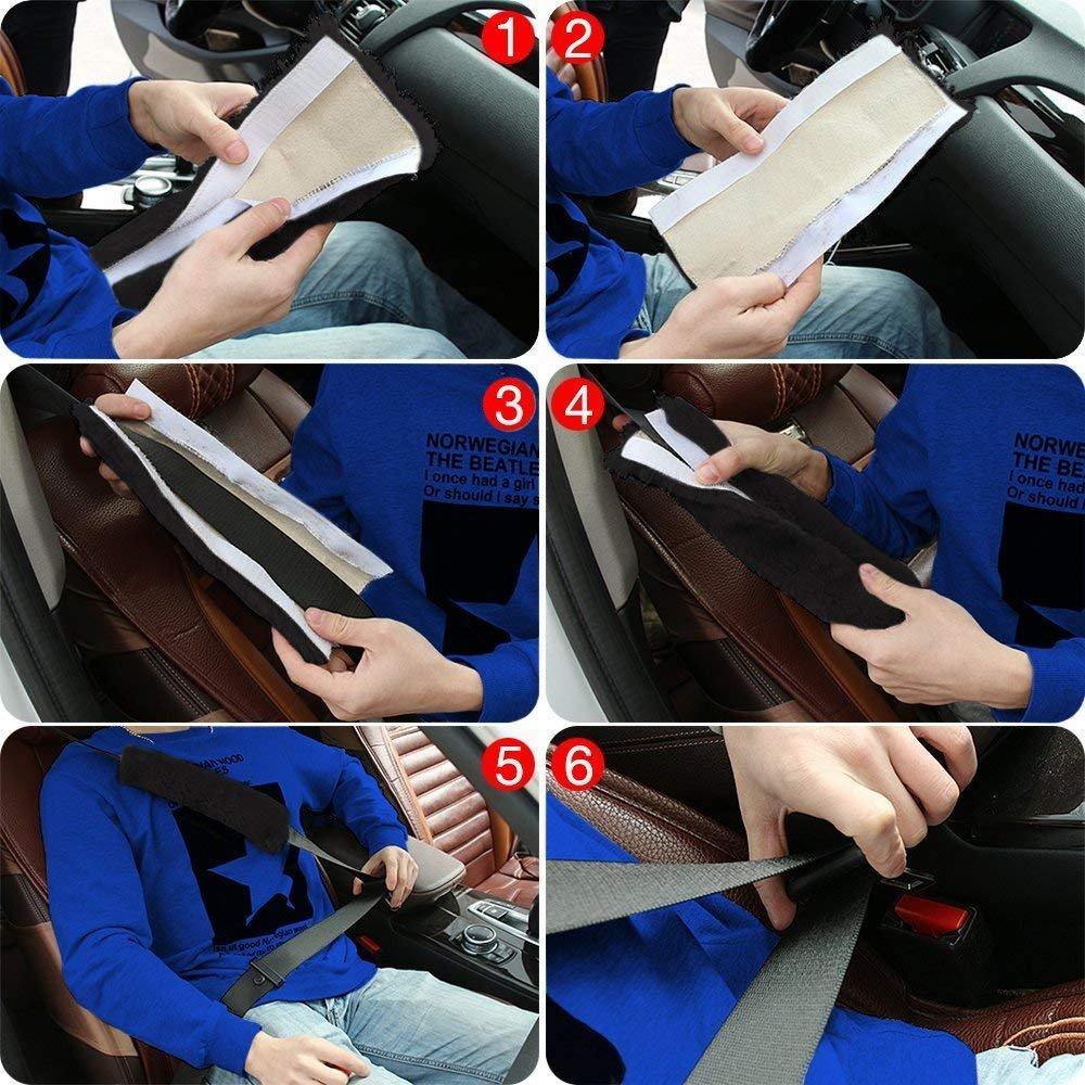 HEQUN 2Pcs Alta Qualit/à Protezioni per Cintura di Sicurezza Auto Copri-cintura di Sicurezza in Peluche un Accessorio Indispensabile per Una Guida Pi/ù Comoda nero