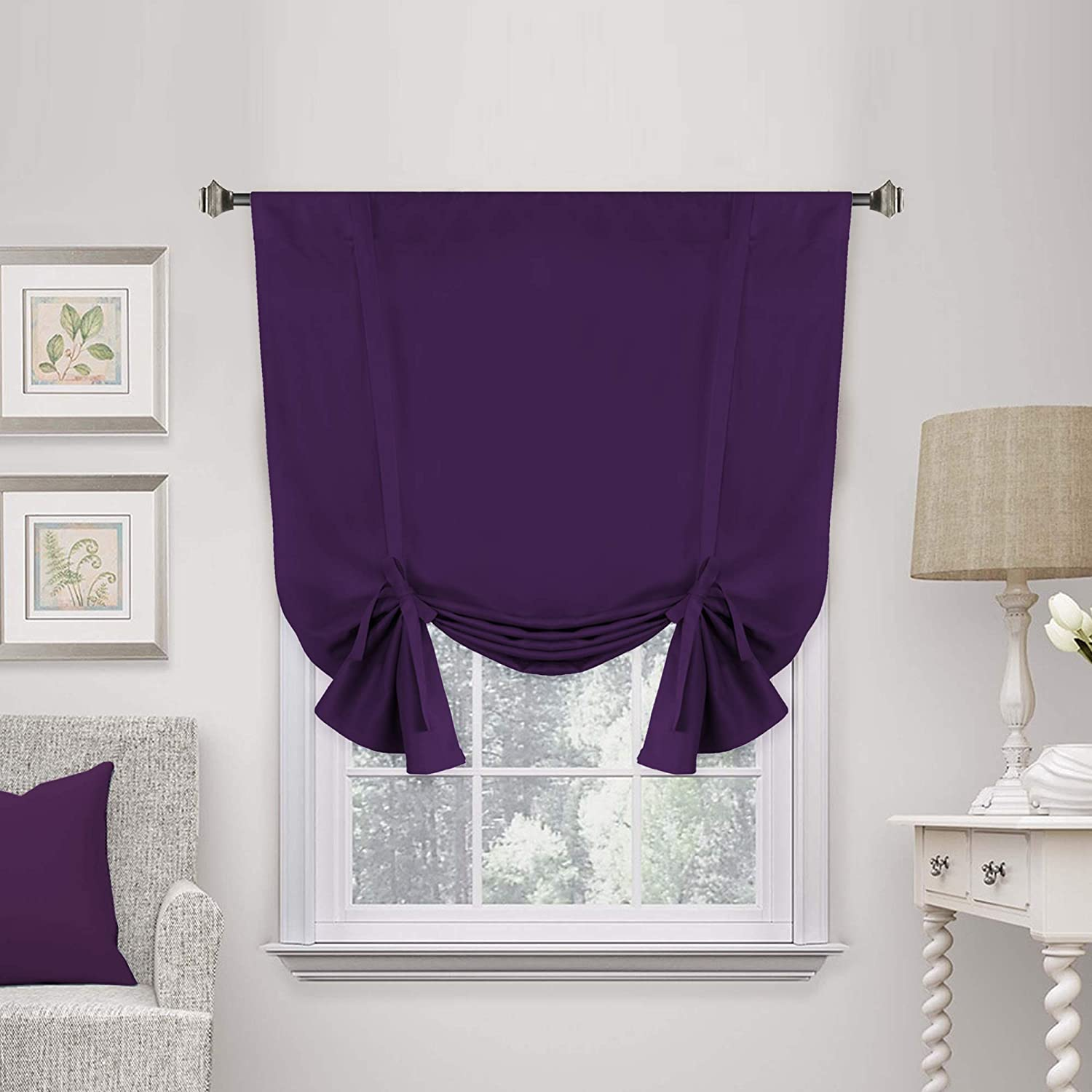 "H.Versailtex Blackout Innovated Tie Up Shade & Curtain (Thermal Insulated Rod Pocket Curtain Panel)-42"" Wide by 63"" Long - Solid in Plum Purple"