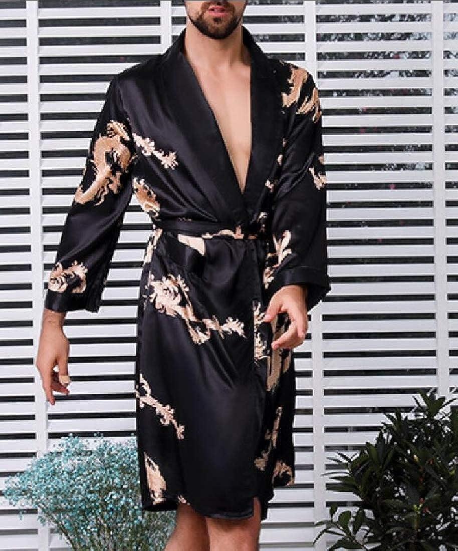 Alion Mens Lounge Casual Night Printing Sleepwear Satin-Silk-Like Bathrobe