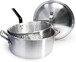 Bayou Classic 14 Quart Aluminum Fry Pot, Lid, and Basket