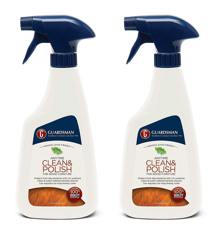Guardsman Clean & Polish For Wood Furniture - Woodland Fresh - 16 oz Spray - Silicone Free, UV Protection - 461100 (2-(Pack))