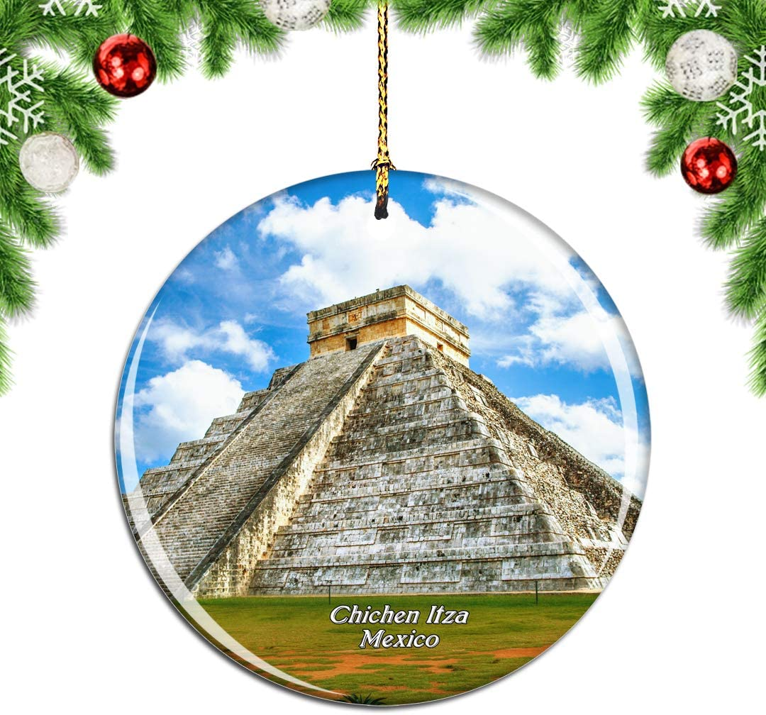 Weekino Mexico Chichen Itza Christmas Xmas Tree Ornament Decoration Hanging Pendant Decor City Travel Souvenir Collection Double Sided Porcelain 2.85 Inch