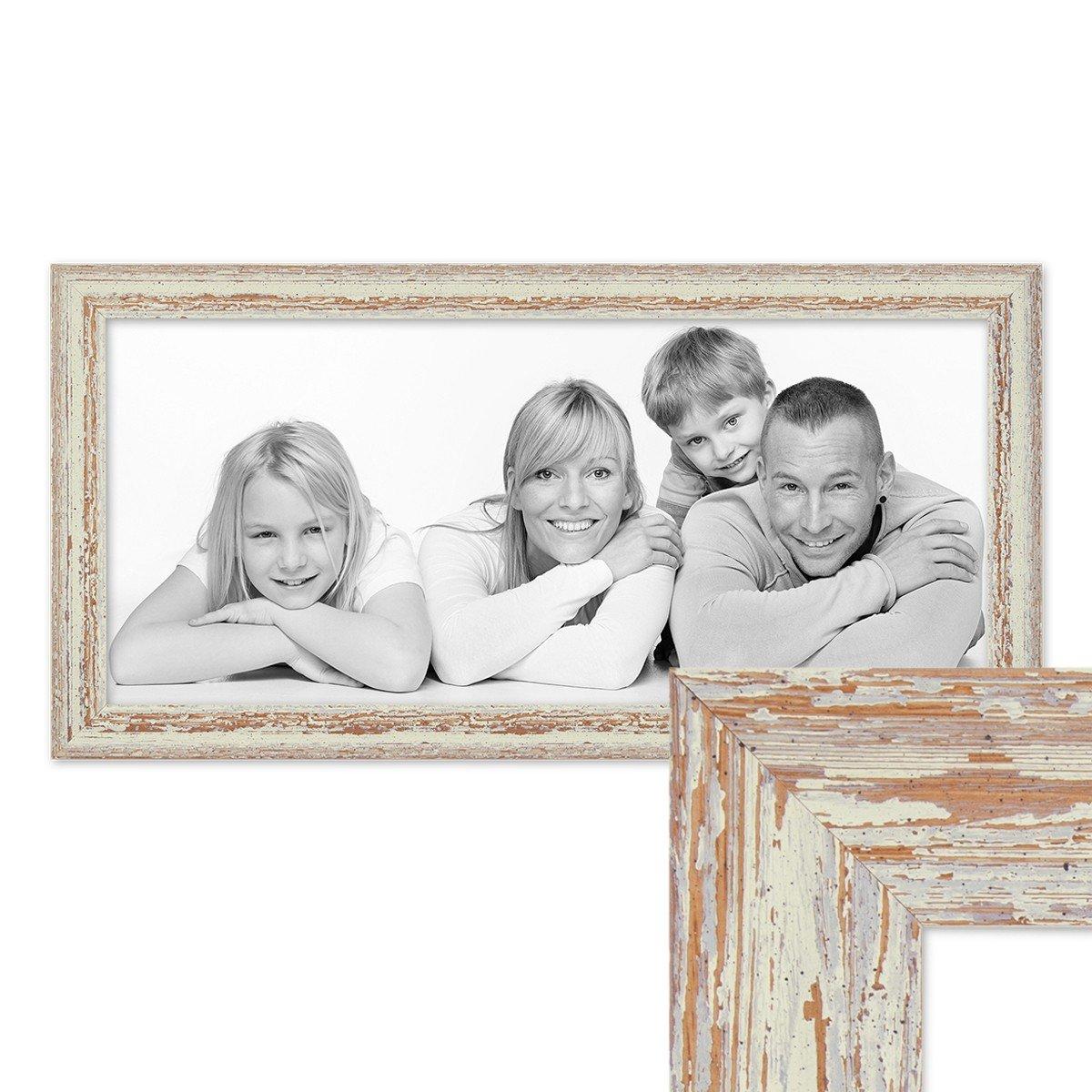 Amazon.de: PHOTOLINI Panorama-Bilderrahmen Vintage 30x60 cm Weiss ...