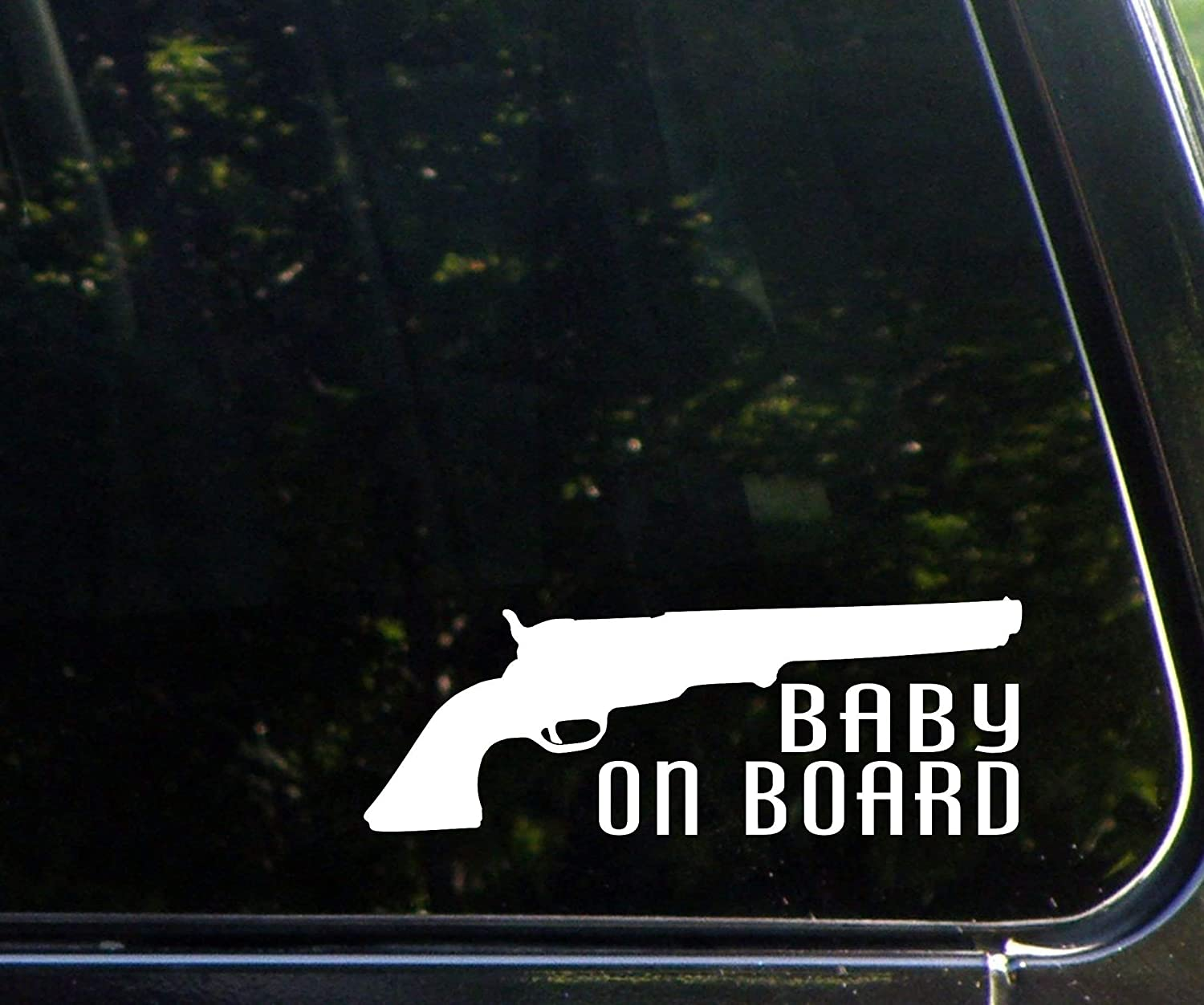 """Diamond Graphics Baby on Board with Pistol (8"""" x 3"""") Die Cut Decal for Windows, Cars, Trucks, Laptops, Etc."""
