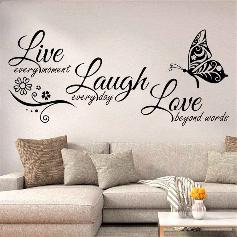 Live Laugh Love Butterfly Flower Wall Art Sticker Modern Wall Decals Quotes Vinyls Stickers Wall Stickers Home Decor Living Room Color : White-95X41CM