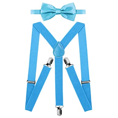 HBF Durable Brace and Bow Tie Set Adjustable Mens Trouser Pants Braces Suspenders Y shape with Strong Metal Clips