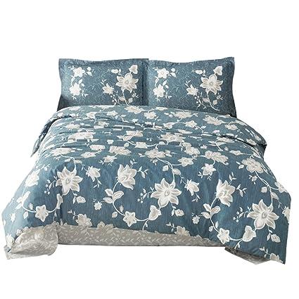 TI Home Belinay V1 Blue Floral Duvet Cover Set, 100% Cotton Ranforce, 4