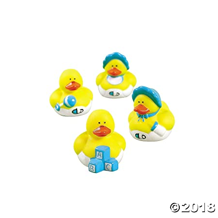 Oriental Trading Two Dozen 24 Blue Boy Mini Rubber Ducky Duck Baby