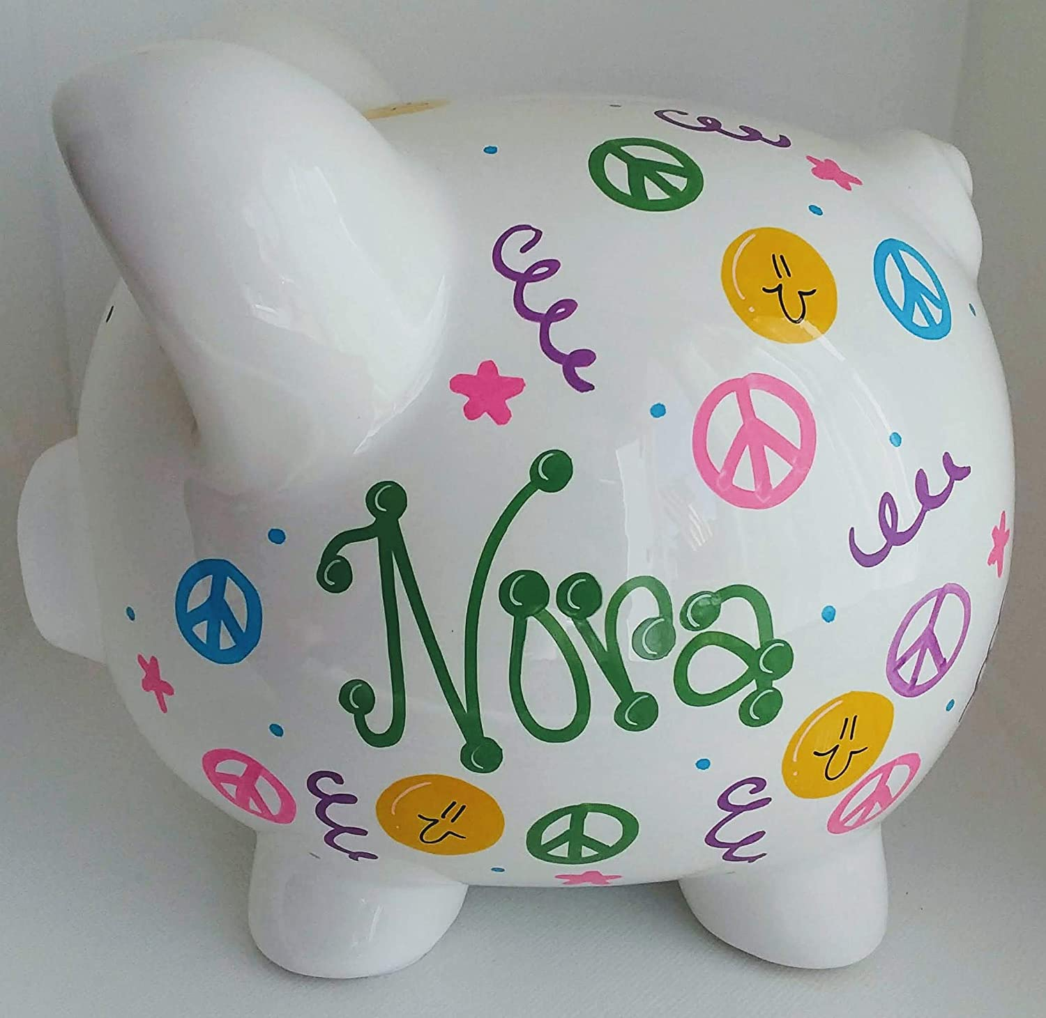 Piggy Bank Girl Personalized with Peace Signs and Stars