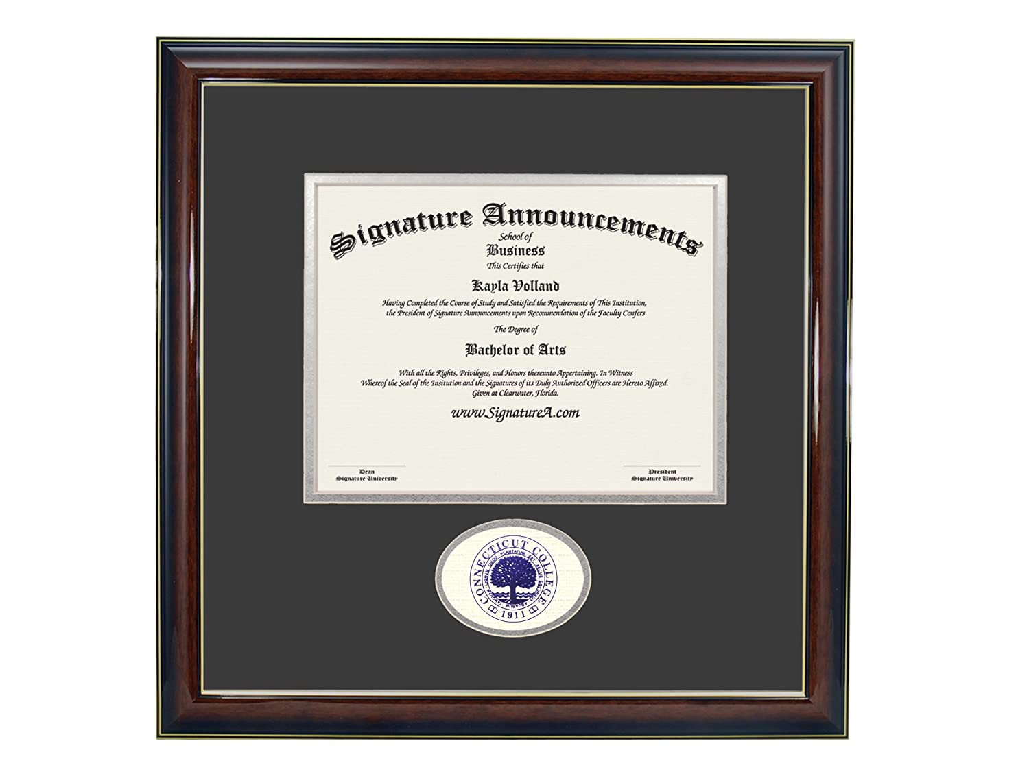 Signature Announcements Connecticut College Undergraduate Sculpted Foil Seal Graduation Diploma Frame 16 x 16 Gloss Mahogany with Gold Accent