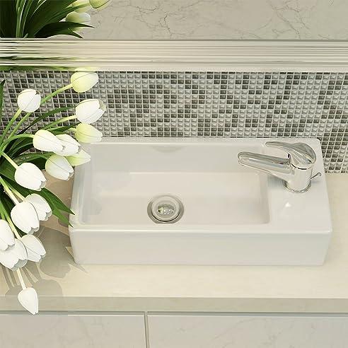 Panana Keramik Waschbecken Modern Design Waschtisch Rechteckig