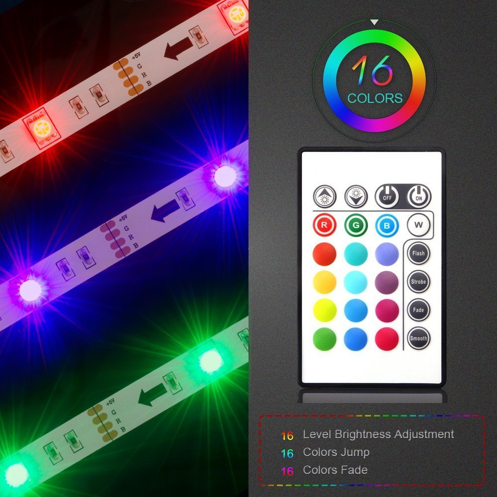 LED TV Backlight, Maylit 2M/6.56ft RGB Neon Accent LED Lights Strips for 40 to 60 in HDTV Neon Light Bias Lighting with Remote, USB LED Strips TV Backlight by maylit (Image #4)