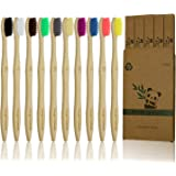 10 Pcs Soft Bristles Bamboo Toothbrush, Eco Friendly Charcoal Toothbrushes, Biodegradable Natural BPA Free Soft…