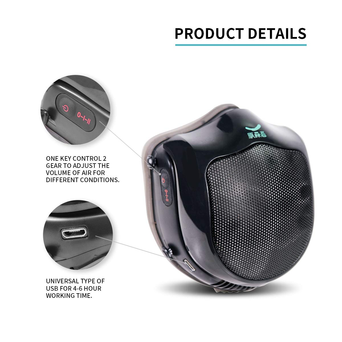 Electric dust mask,Q5S N95 respirator with activated carbon filter,automatic fresh air purifying dustproof mask for pollen allergy,dust,Exhaust Gas,pm2.5 (AllBlack)