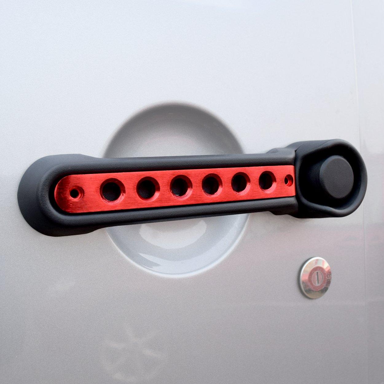 Allinoneparts Door Handle Inserts Front Rear Red Aluminum Grab Handle Cover Trim for 2007-2018 Jeep Wrangler JK JKU/& Unlimited Accessories 2 Door-3 Pcs