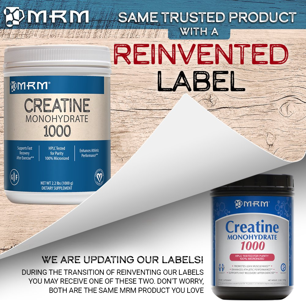 MRM - Creatine Monohydrate 1000, Enhances Athletic Performance & Supports Fast Post-Exercise Recovery, Enhances Lean Muscle Mass & Strength(2.2 lbs)