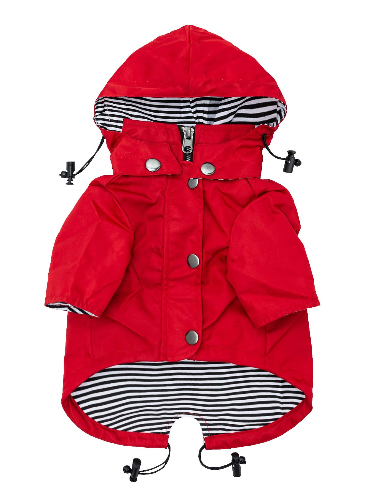 Ellie Dog Wear Red Zip Up Dog Raincoat with Reflective Buttons, Pockets, Rain/Water Resistant, Adjustable Drawstring, Removable Hoodie - Size XS to XXL Available - Stylish Premium Dog Raincoats (M)